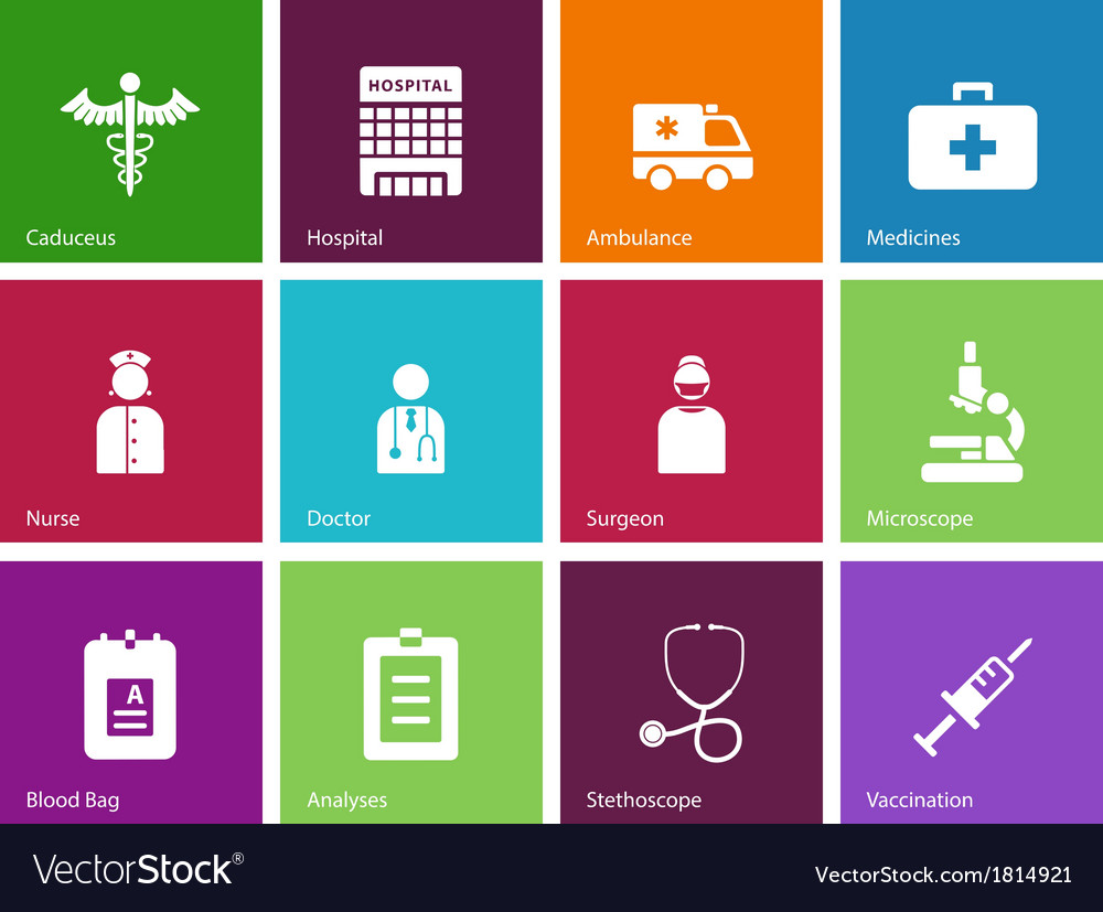 Hospital icons on color background vector   Price: 1 Credit (USD $1)