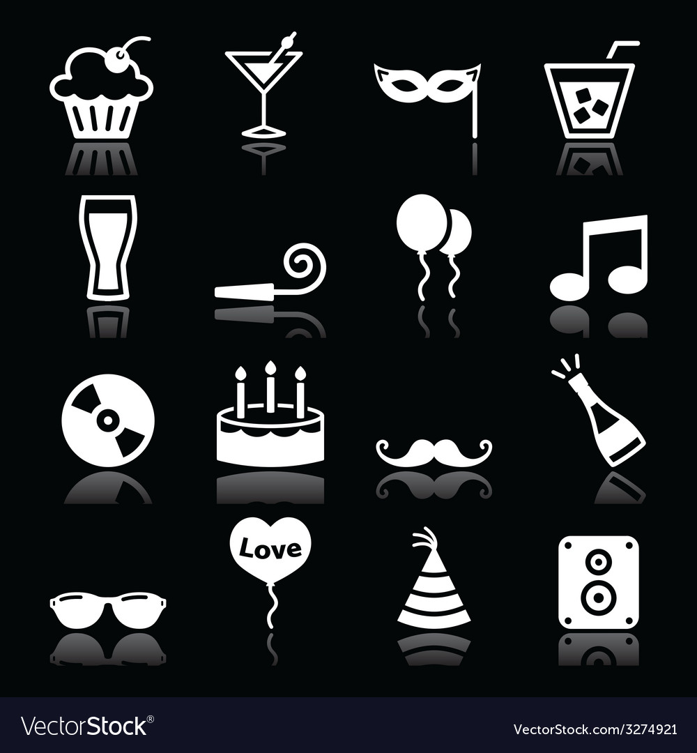 Party icons set - birthday new years christmas vector | Price: 1 Credit (USD $1)