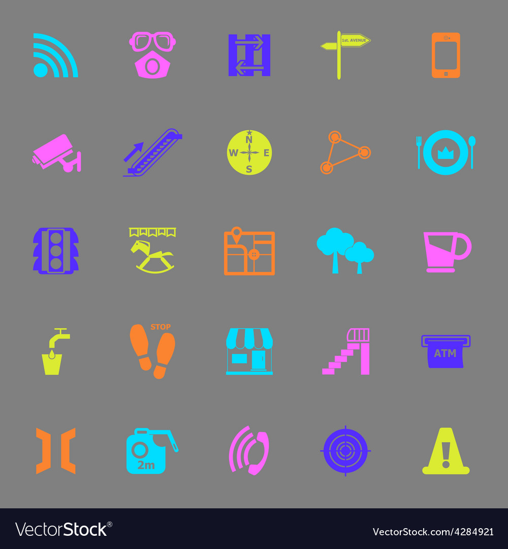 Pathway related color icons on gray background vector | Price: 1 Credit (USD $1)