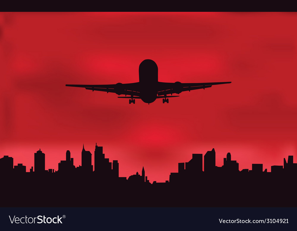 The plane against the night city vector | Price: 1 Credit (USD $1)