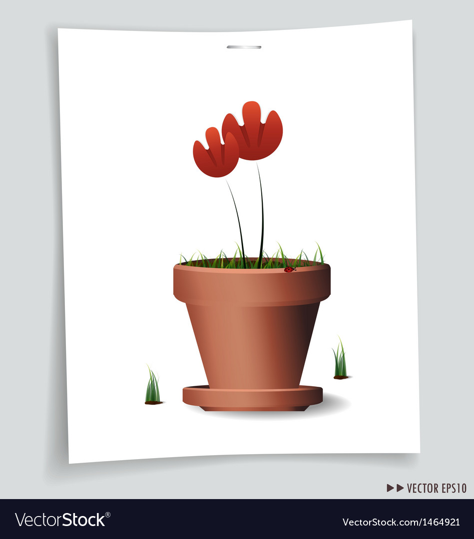 Red flower plant in vector | Price: 1 Credit (USD $1)
