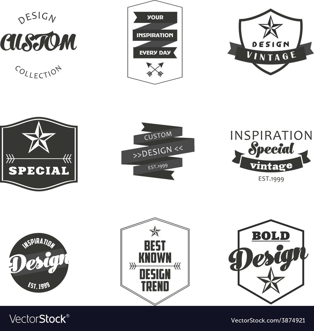 Retro vintage insignias or logotypes set vector | Price: 1 Credit (USD $1)