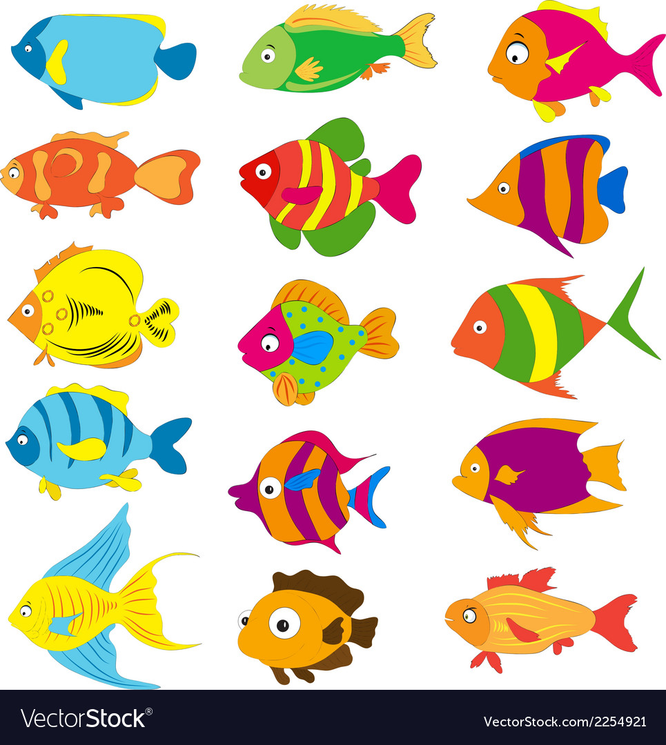 Set of tropical fishes vector | Price: 1 Credit (USD $1)