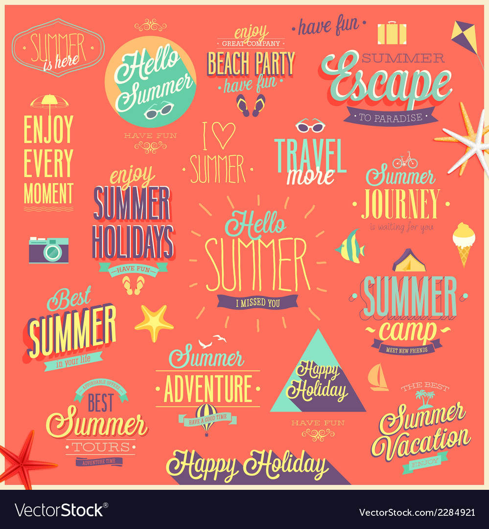 Summer emblems set vector | Price: 1 Credit (USD $1)