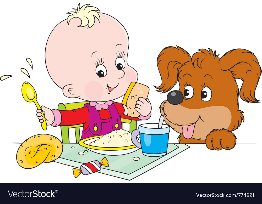 Toddler and pup at dinner vector | Price: 3 Credit (USD $3)