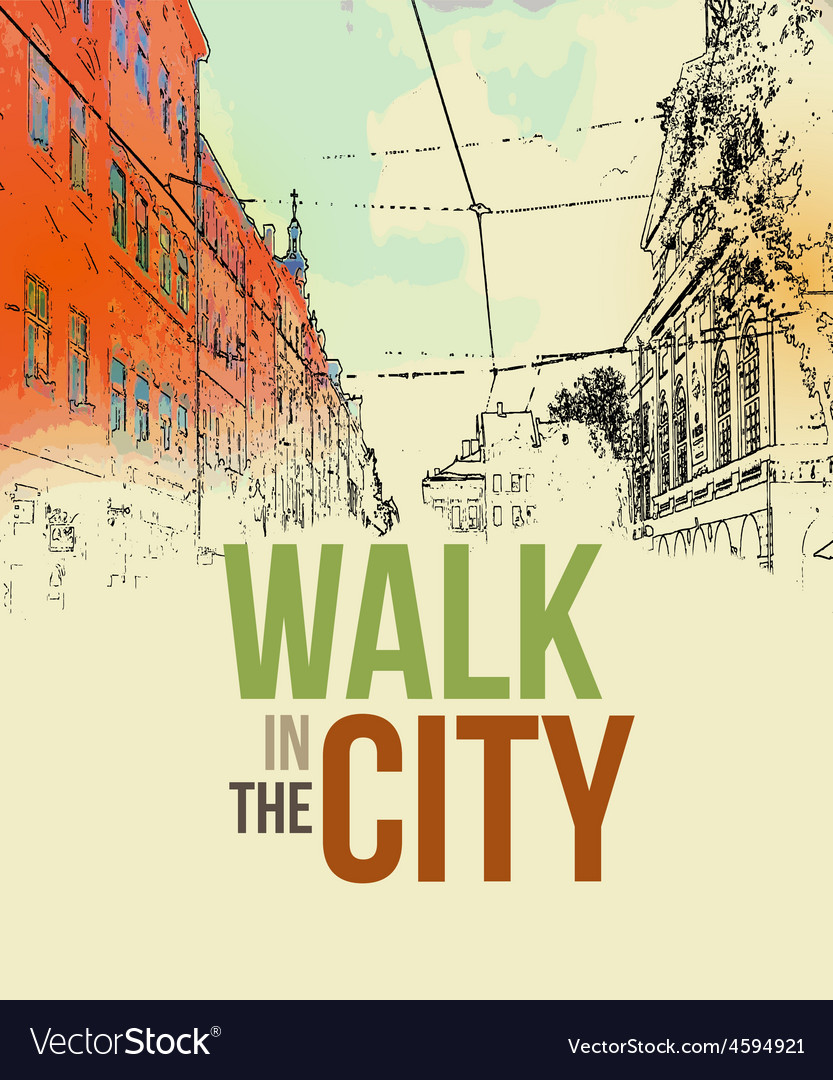 Walking in the city poster template vector