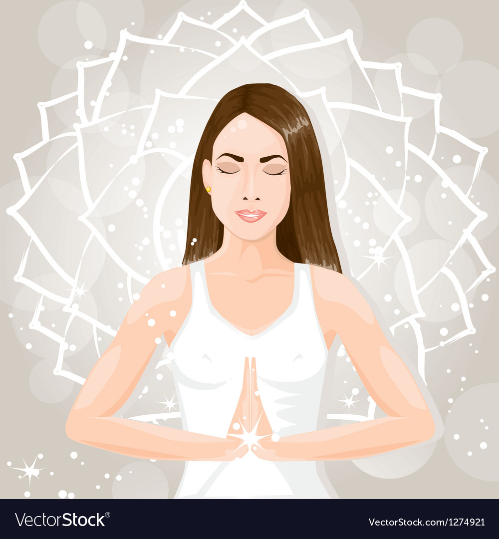 Woman meditating vector | Price: 3 Credit (USD $3)