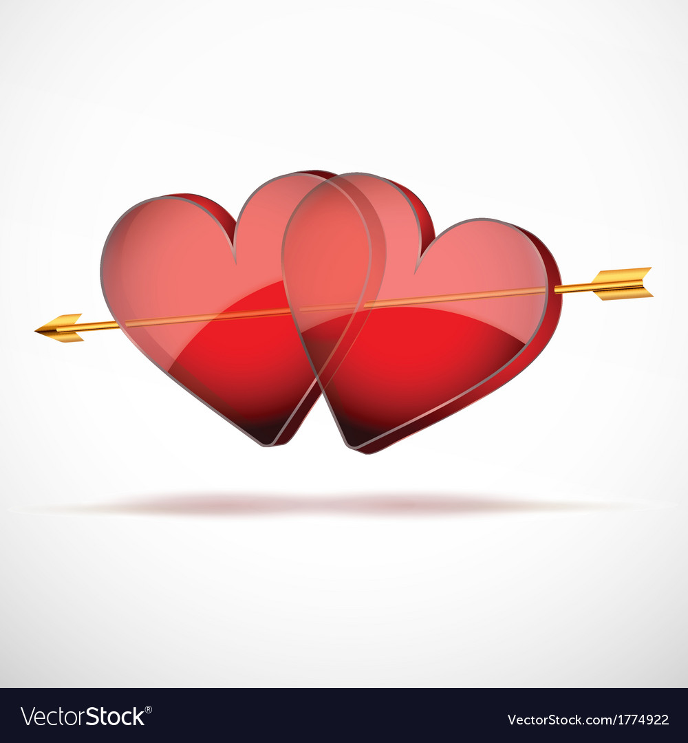 Background two hearts and arrow valentines day vector | Price: 1 Credit (USD $1)