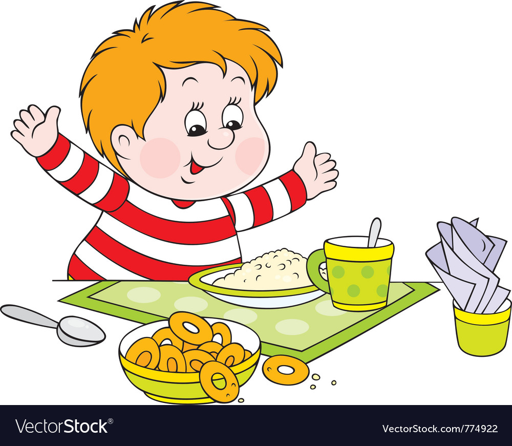 Boy at dinner vector | Price: 3 Credit (USD $3)