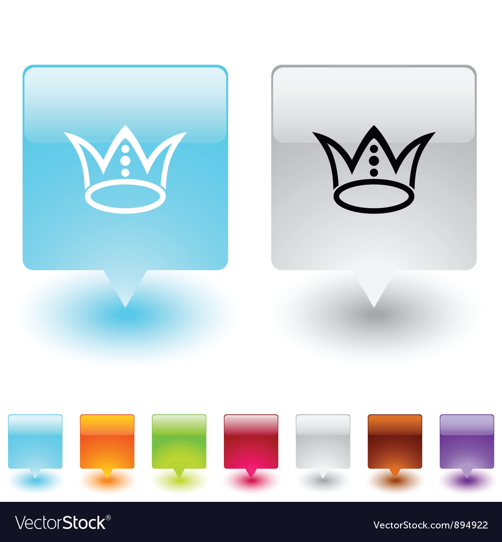 Crown square button vector | Price: 1 Credit (USD $1)