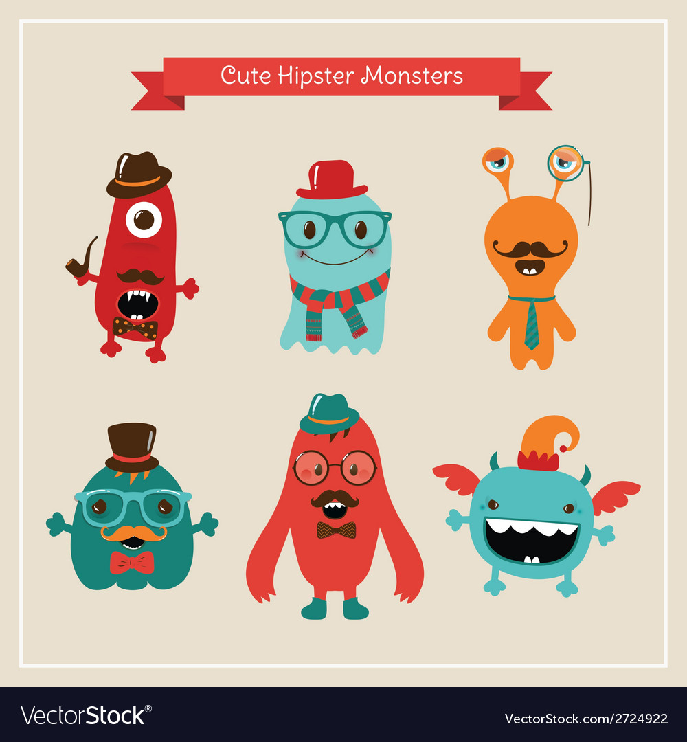 Cute retro hipster monsters set vector | Price: 1 Credit (USD $1)