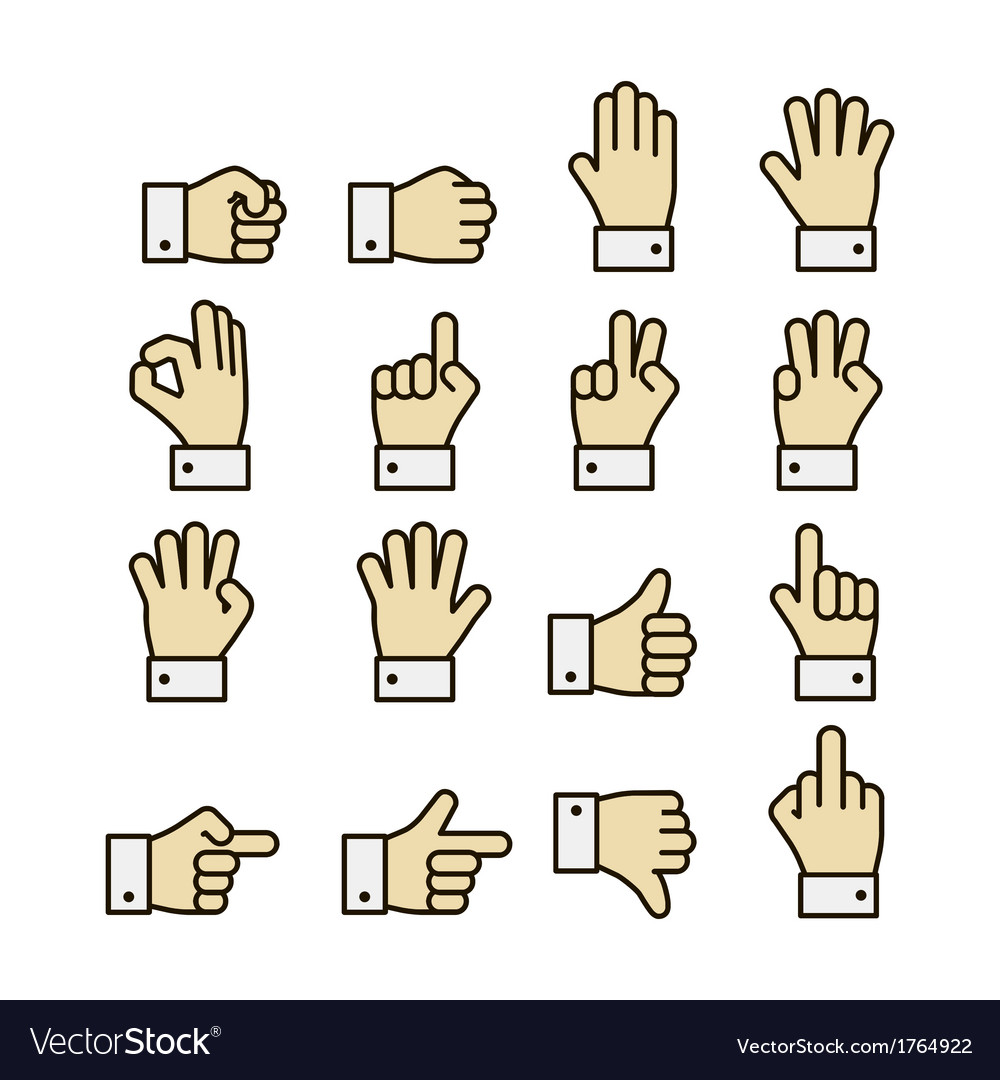 Hand gestures icons set contrast color vector | Price: 1 Credit (USD $1)