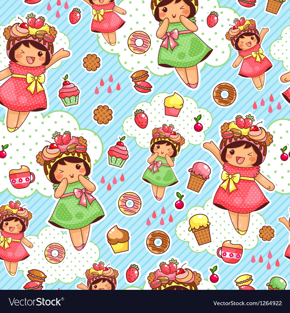 Happy sweet pattern vector | Price: 3 Credit (USD $3)