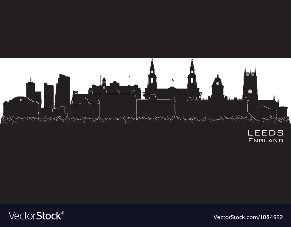 Leeds england skyline detailed silhouette vector | Price: 1 Credit (USD $1)