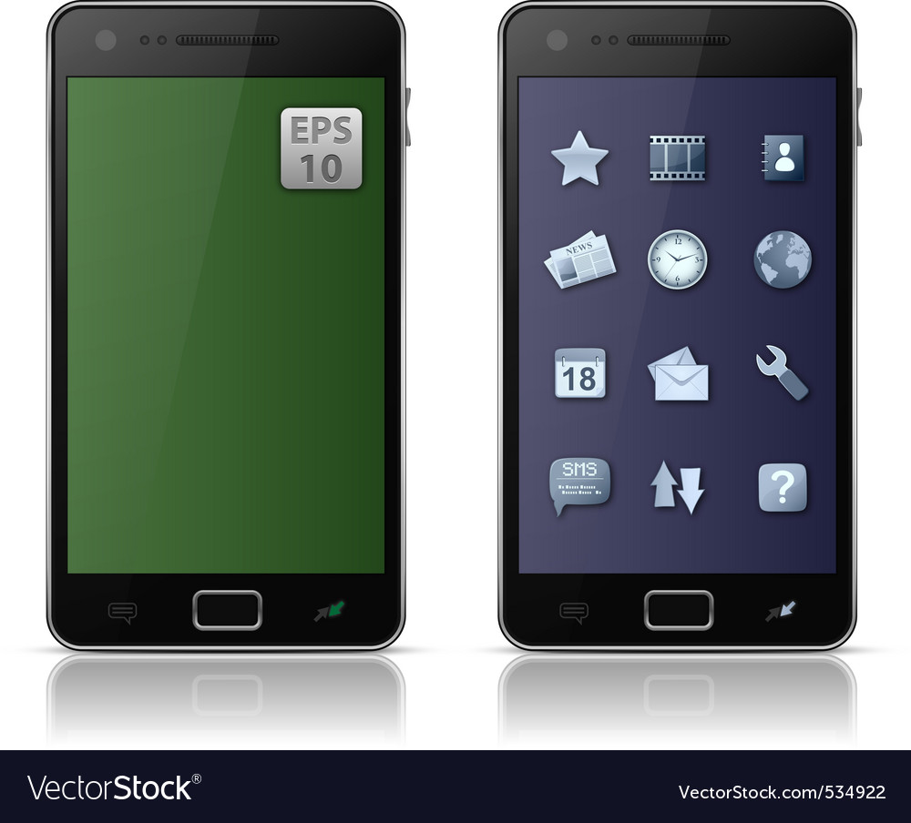 Mobile phone with icons vector | Price: 1 Credit (USD $1)