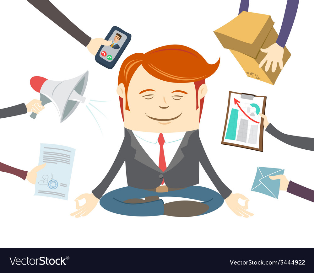 Office man meditating in the middle of busy vector | Price: 1 Credit (USD $1)