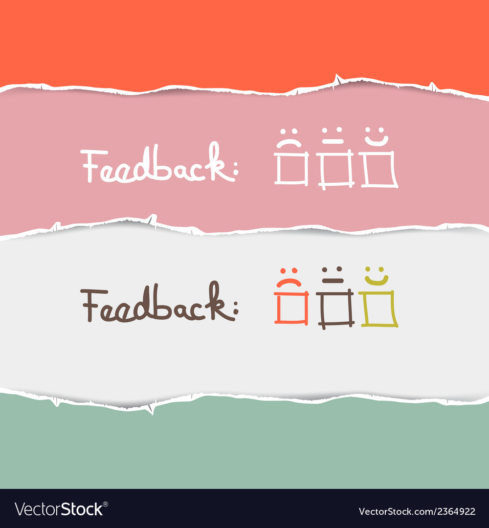 Retro torn paper feedback background template vector | Price: 1 Credit (USD $1)