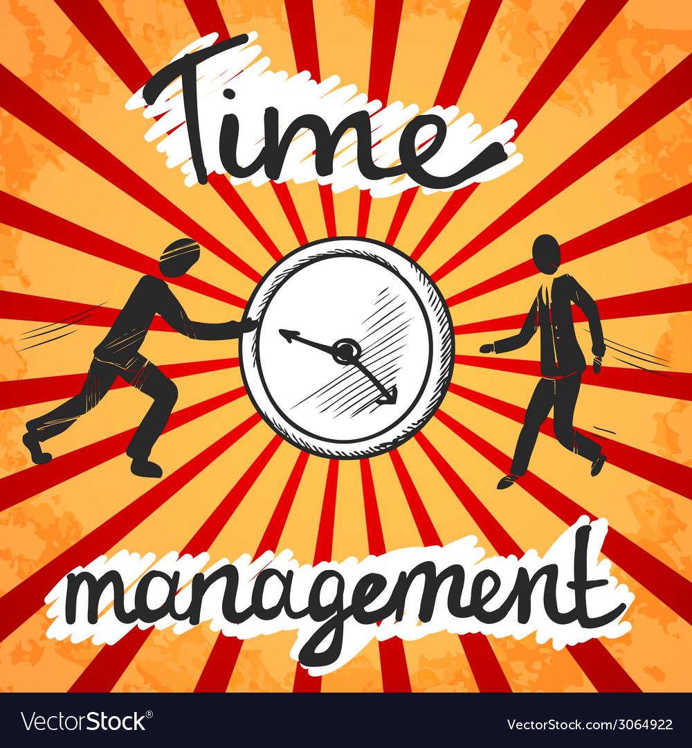 Time management poster sketch vector | Price: 1 Credit (USD $1)
