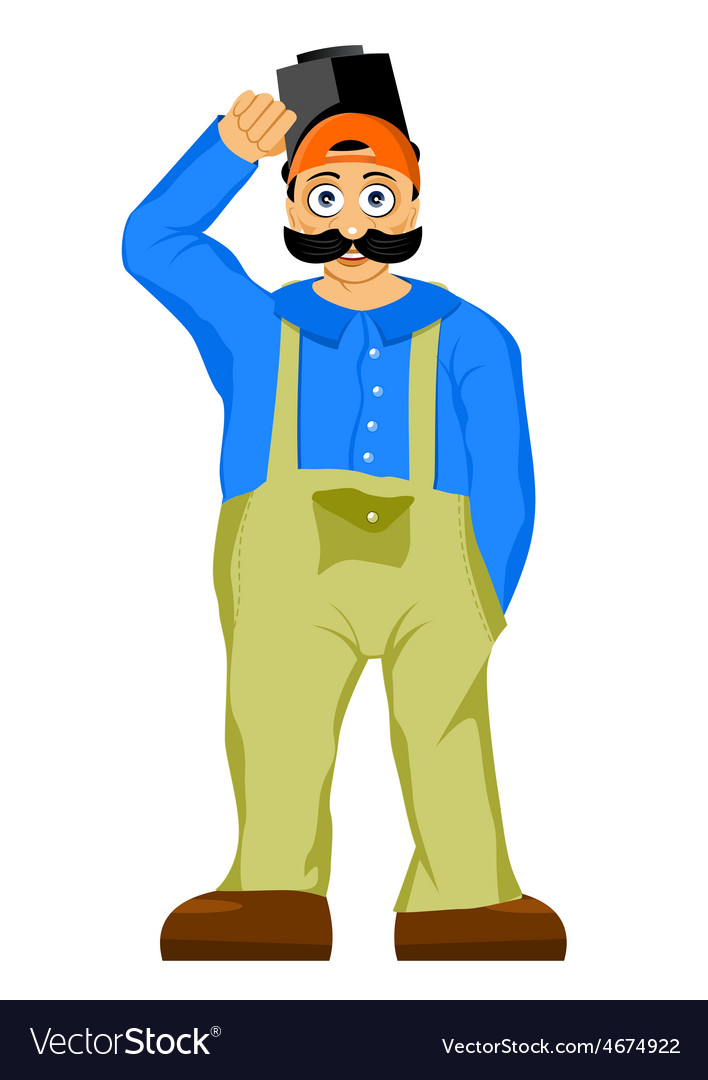 Welder with mustache and bulging eyes vector | Price: 1 Credit (USD $1)