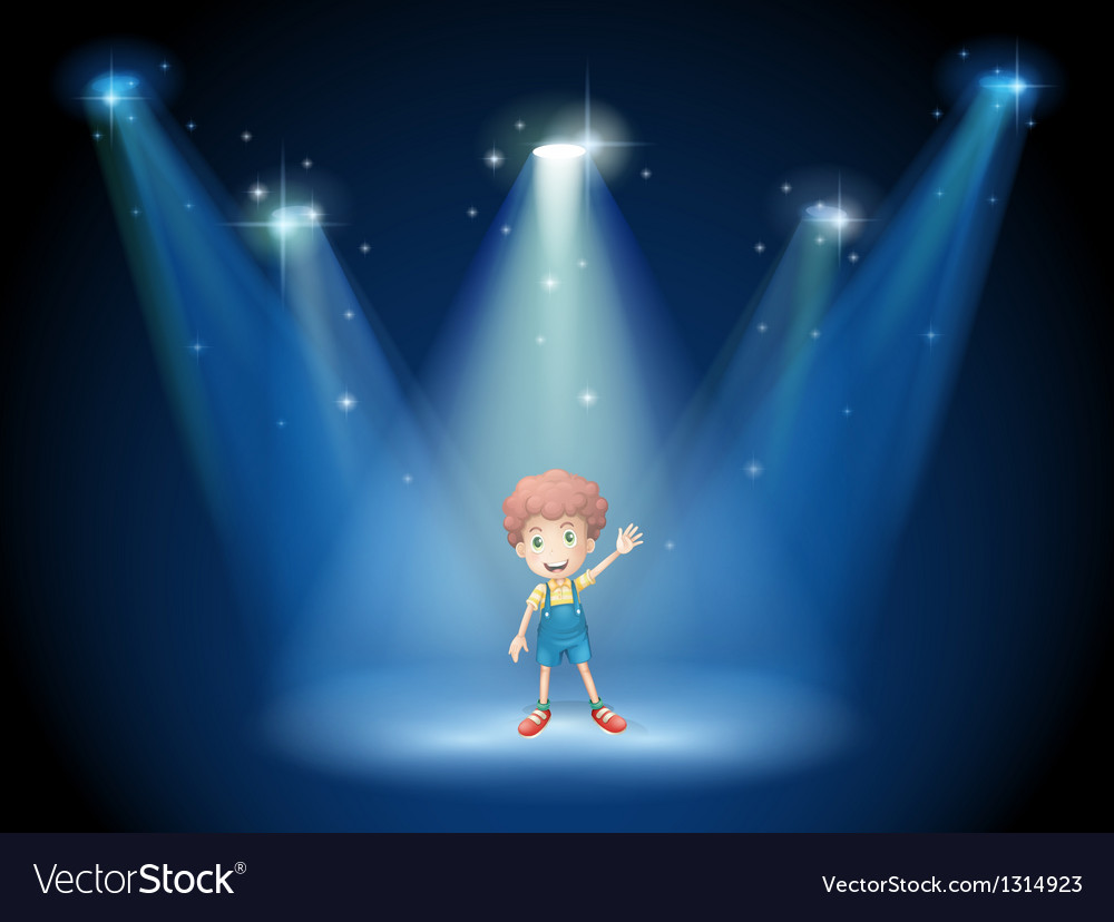 A boy waving his hand at the stage with spotlights vector | Price: 1 Credit (USD $1)