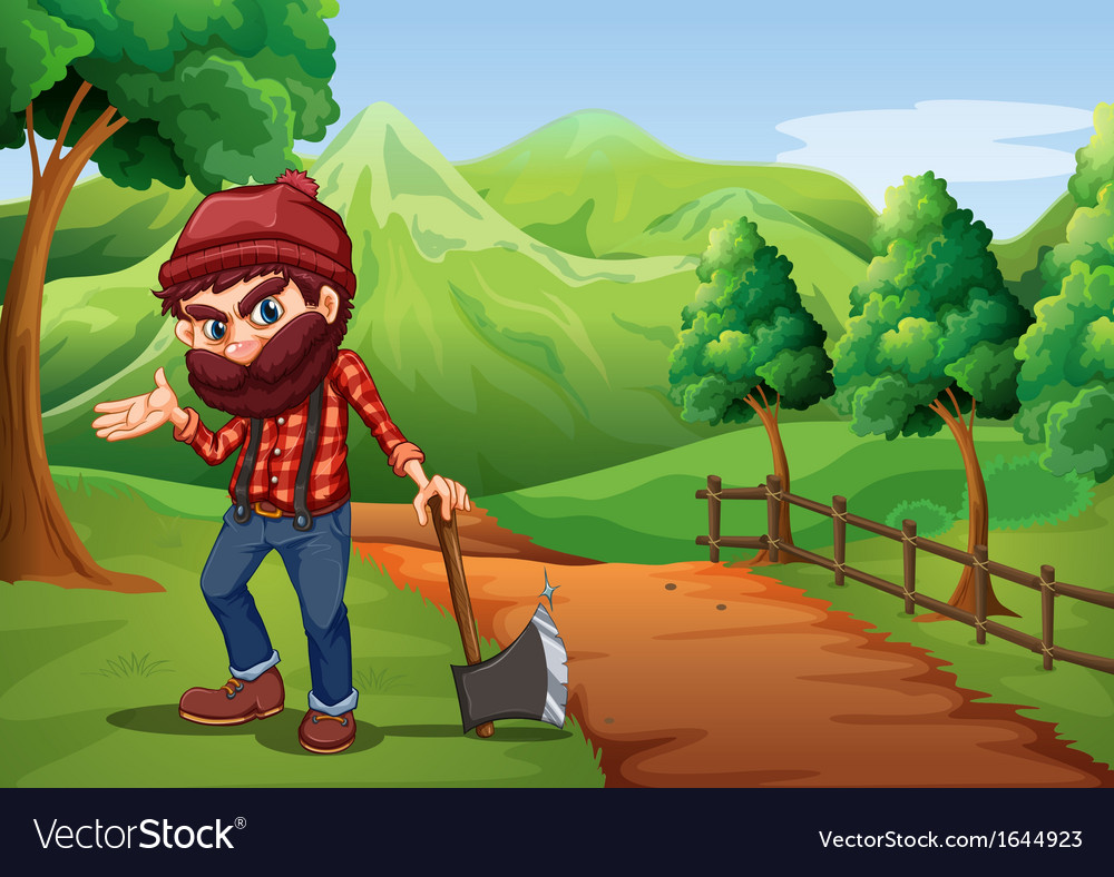 A woodman holding an axe at the pathway near the vector | Price: 3 Credit (USD $3)