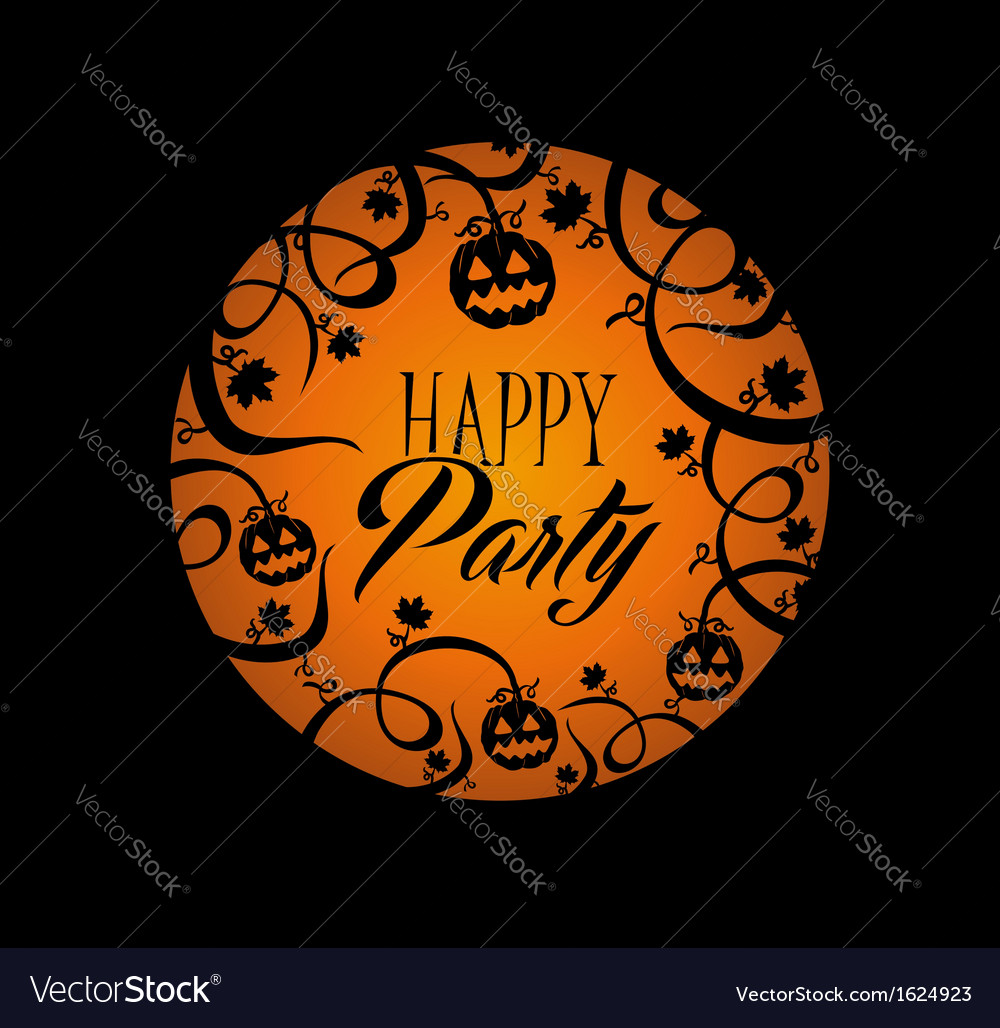 Halloween text pumpkin lantern and spooky forest vector | Price: 1 Credit (USD $1)