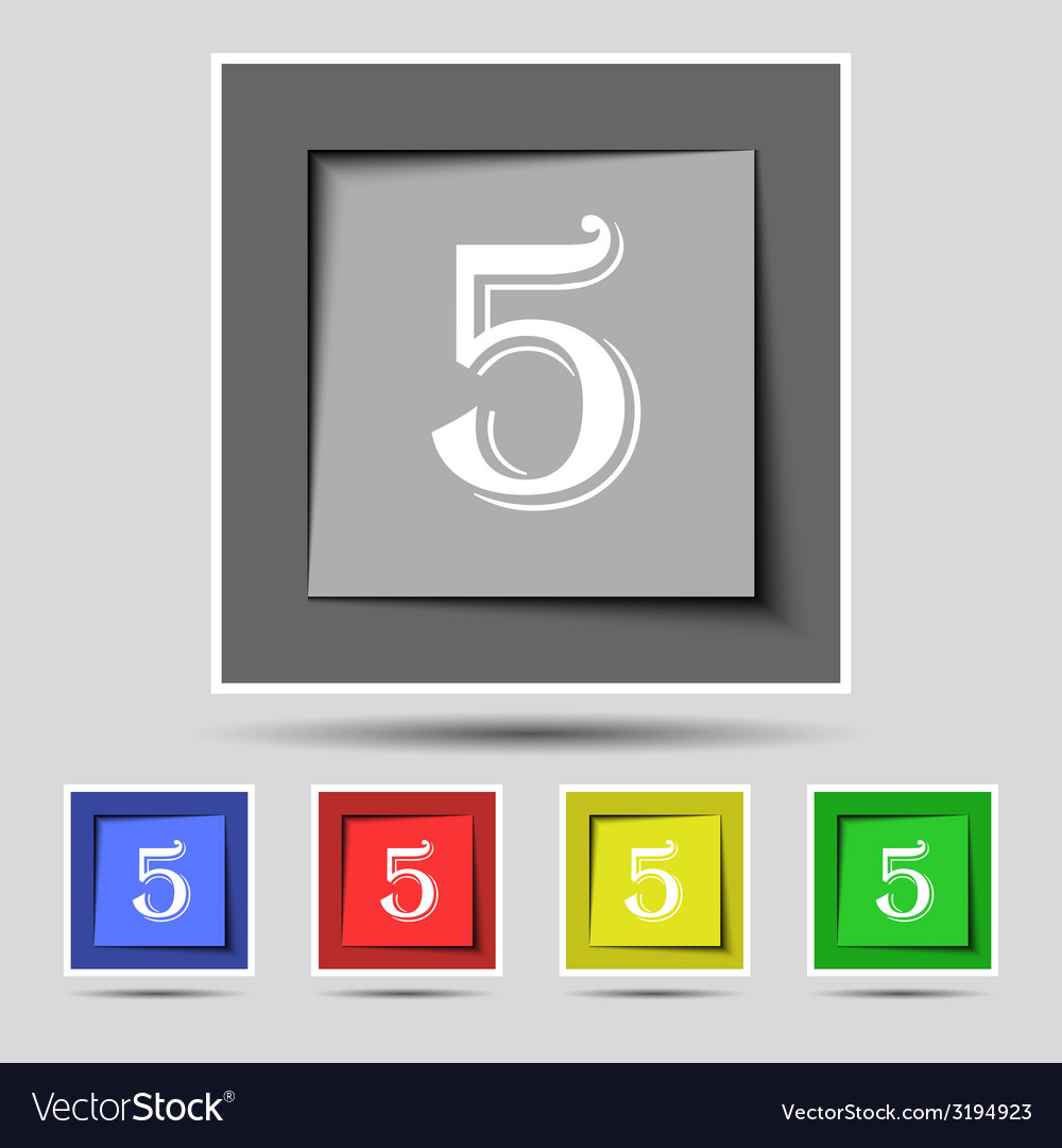 Number five icon sign set of coloured buttons vector | Price: 1 Credit (USD $1)