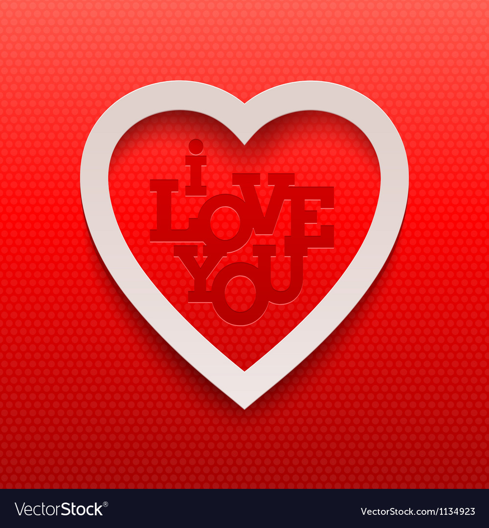 Paper valentines heart and lettering - i love you vector | Price: 1 Credit (USD $1)