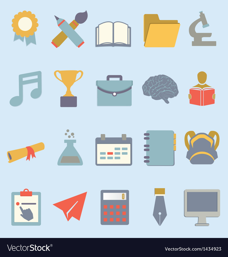 Set of flat education icons vector | Price: 3 Credit (USD $3)