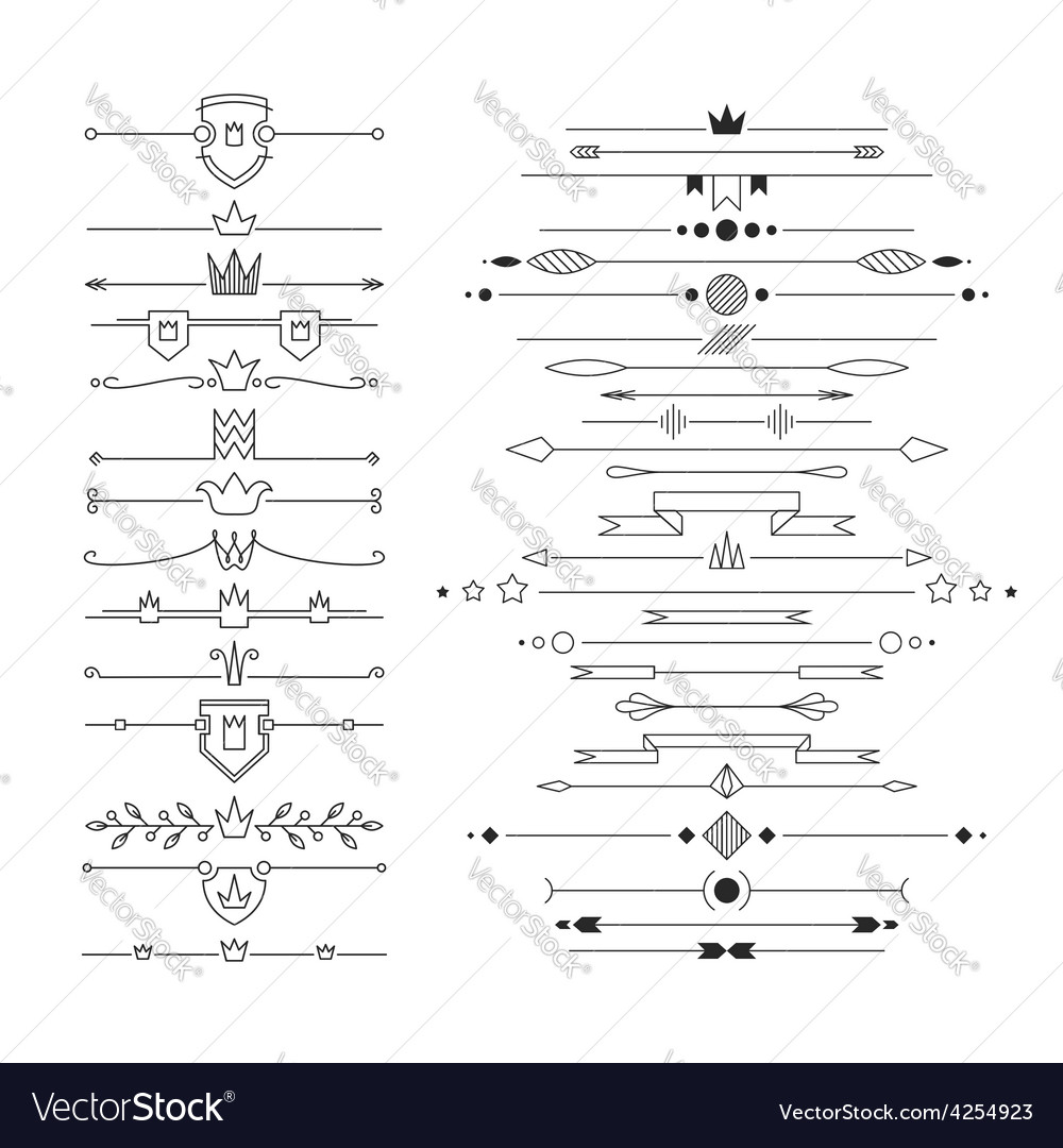 Set of linear empty flat headers vector | Price: 1 Credit (USD $1)