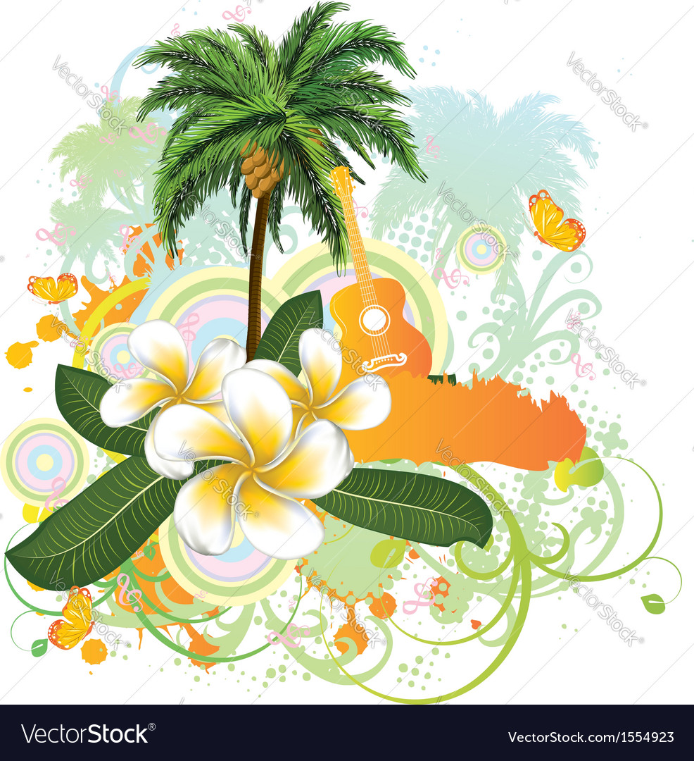 Tropical background with guitar2 vector | Price: 3 Credit (USD $3)