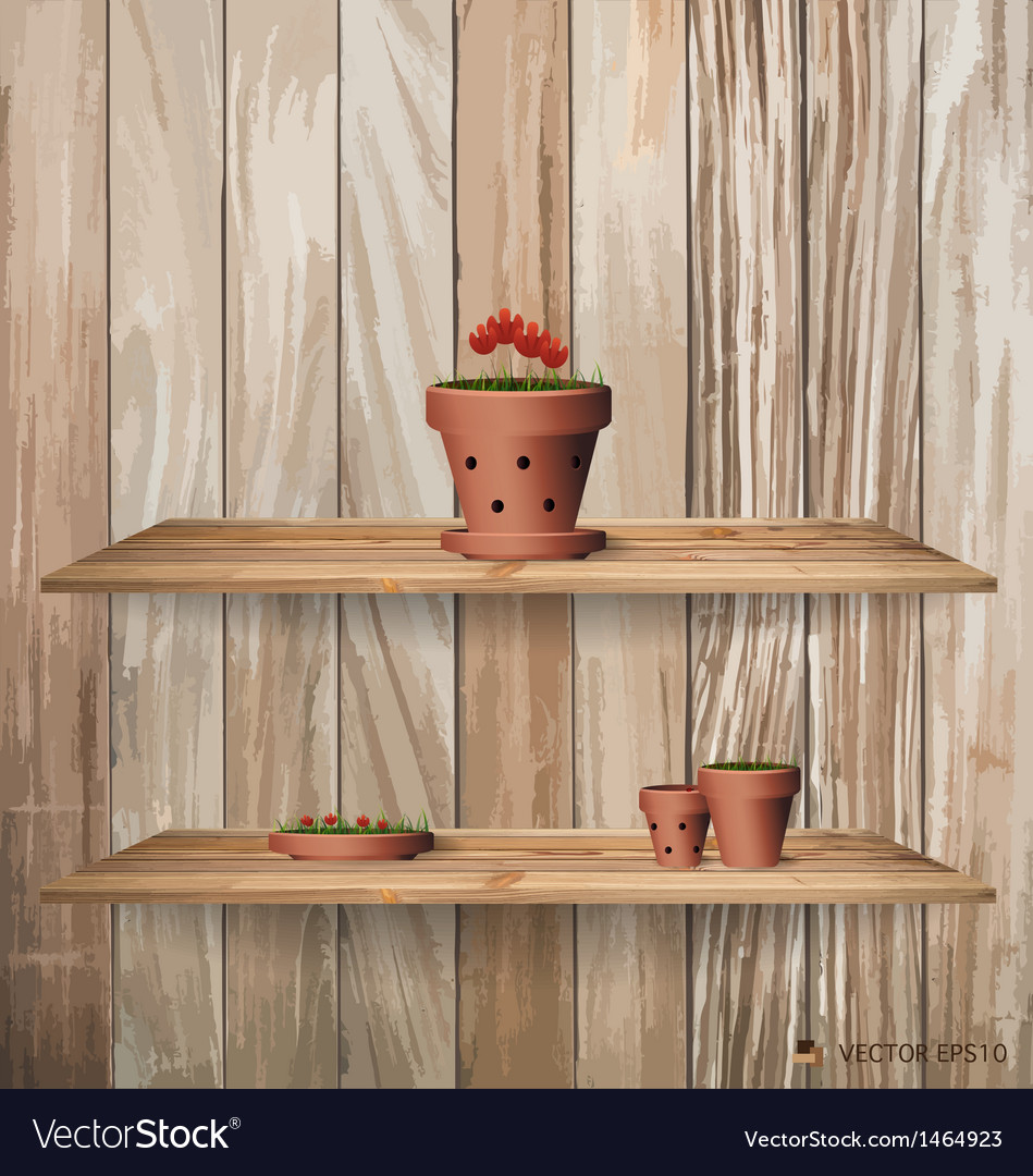 Wood shelf with red flower plant in clay pot vector | Price: 1 Credit (USD $1)