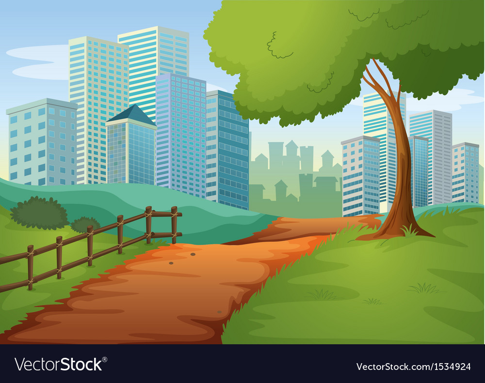 A pathway going to the tall buildings vector | Price: 1 Credit (USD $1)