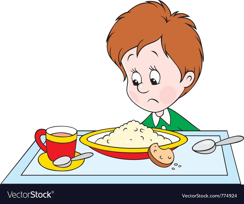 Boy at dinner vector | Price: 3 Credit (USD $3)