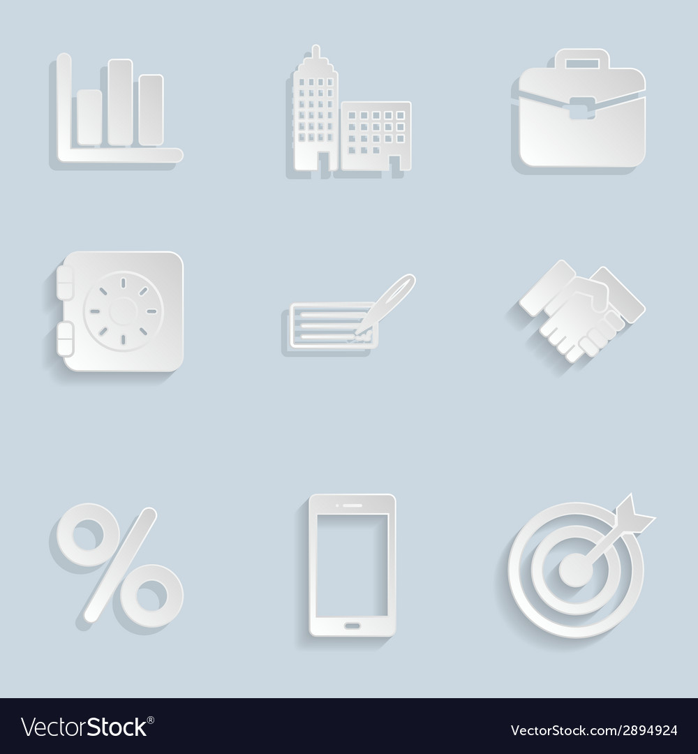 Business paper icons set vol 2 vector | Price: 1 Credit (USD $1)