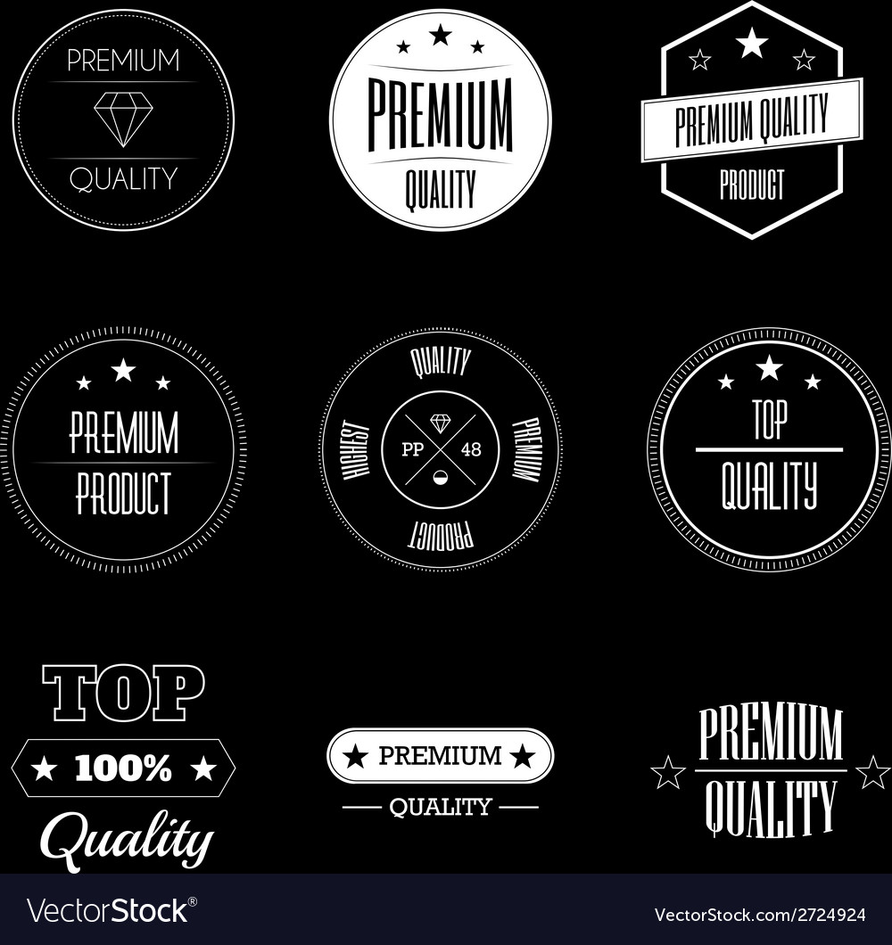 Collection of vintage product quality signs vector | Price: 1 Credit (USD $1)