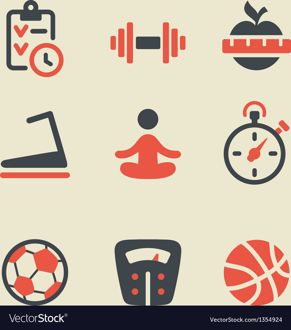 Fitness black and red icon set vector | Price: 1 Credit (USD $1)