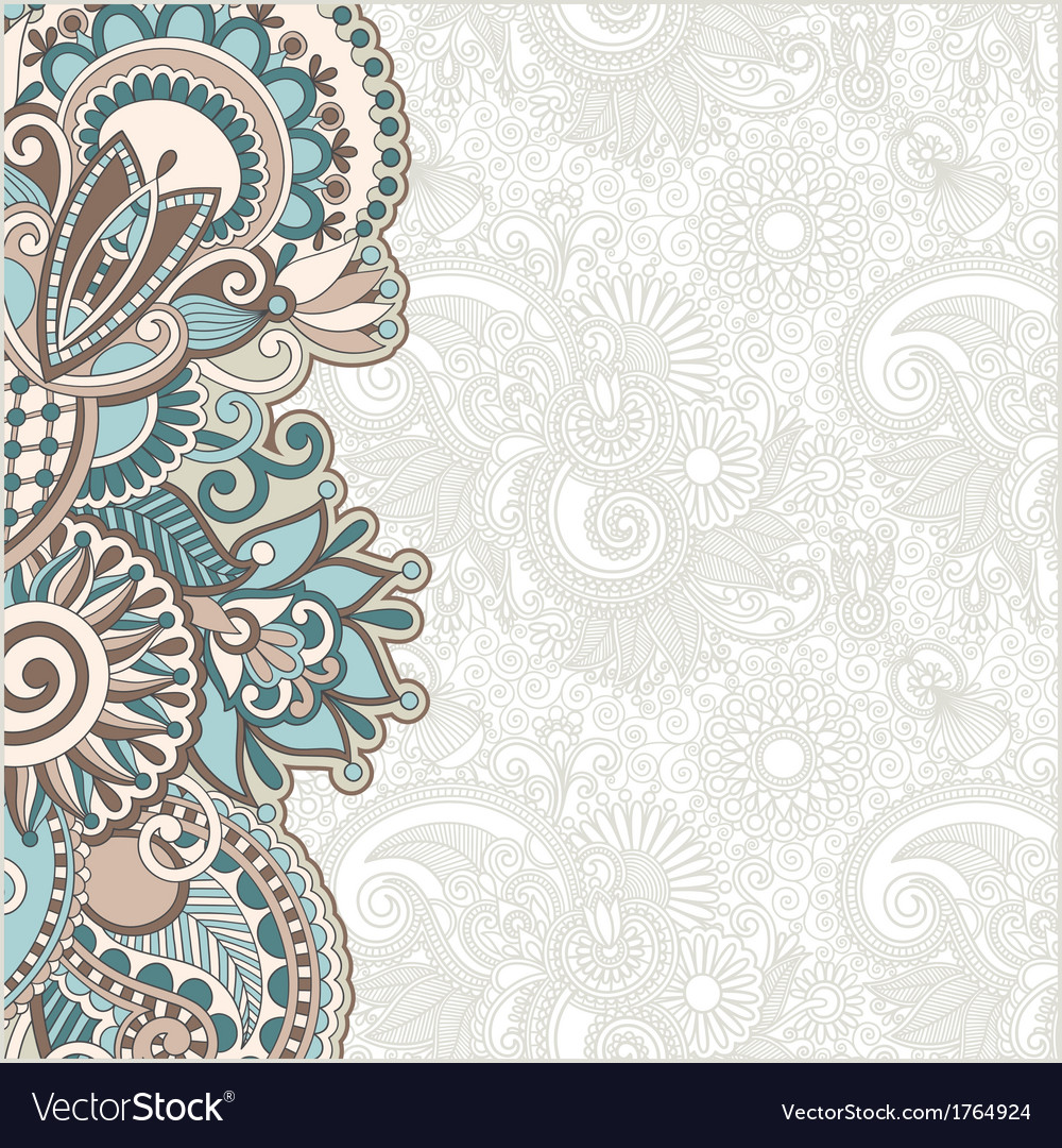 Hand draw floral ornate card announcement vector | Price: 1 Credit (USD $1)