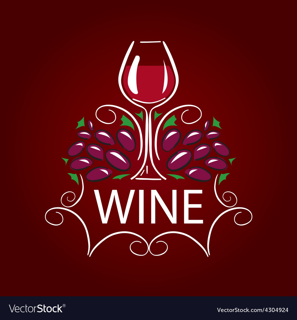 Logo glass of wine and grapes on burgundy vector | Price: 1 Credit (USD $1)