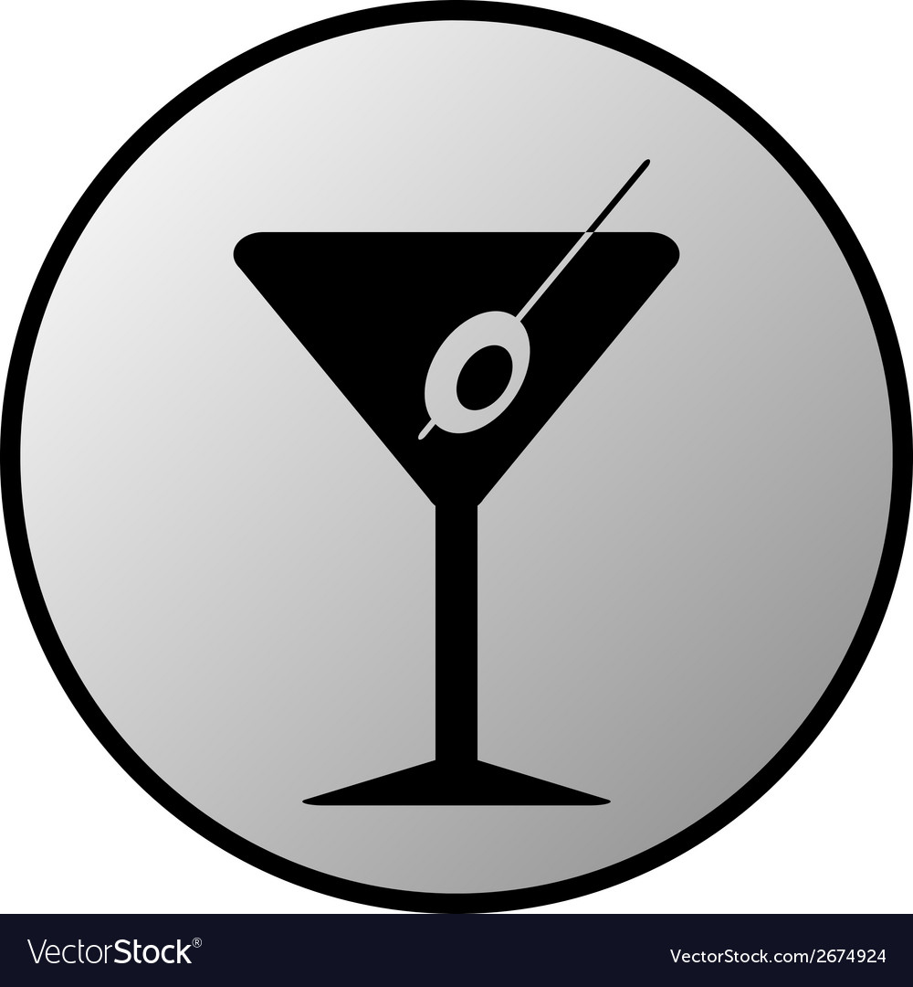 Martini glass button vector | Price: 1 Credit (USD $1)