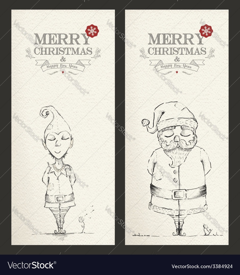 Merry christmas unique hand drawn banner set vector | Price: 1 Credit (USD $1)