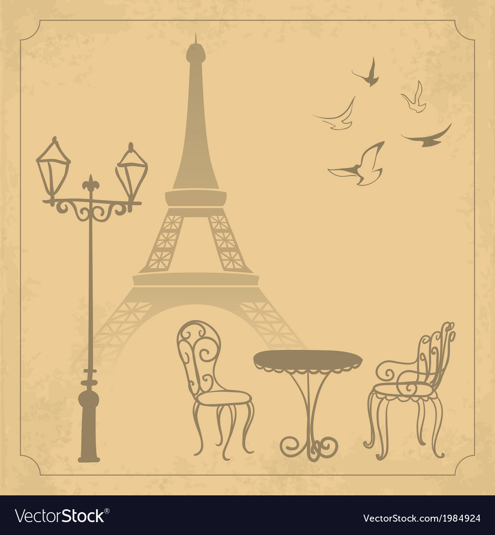 Paris landscape on vintage background vector | Price: 1 Credit (USD $1)