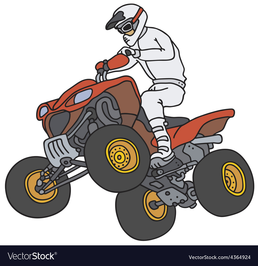 Rider on the red atv vector | Price: 1 Credit (USD $1)