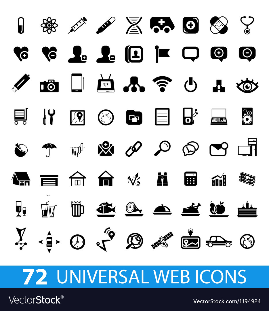 Set of 72 universal web icons vector | Price: 1 Credit (USD $1)