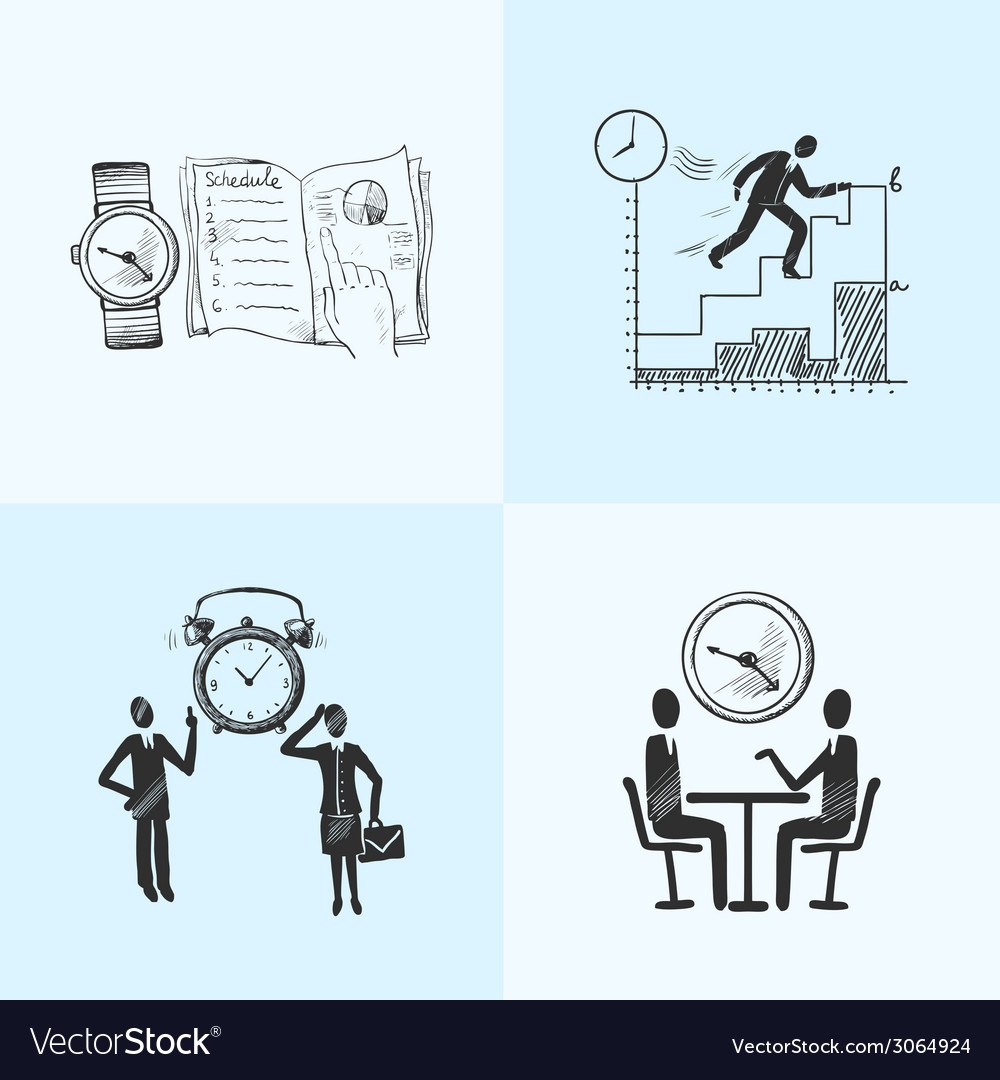 Time management composition sketch vector | Price: 1 Credit (USD $1)