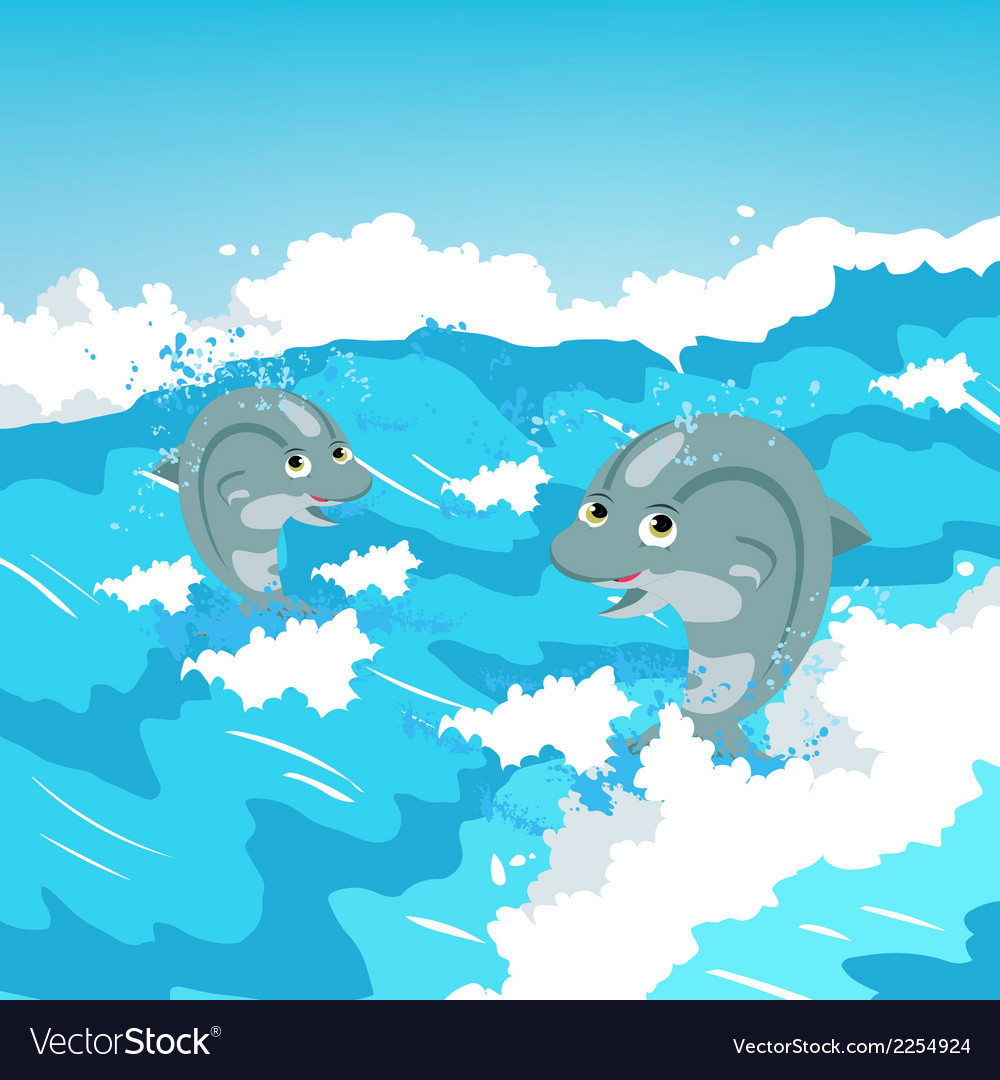 Two jumping dolphins vector | Price: 1 Credit (USD $1)