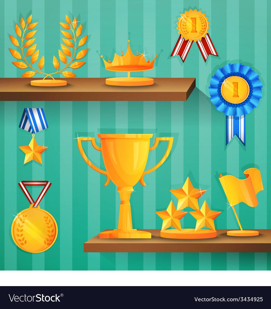 Award shelves background vector | Price: 1 Credit (USD $1)