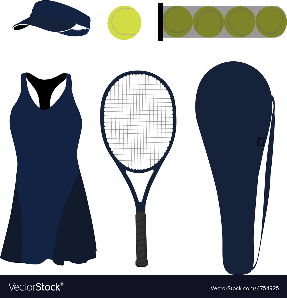 Blue tennis set six items vector | Price: 1 Credit (USD $1)