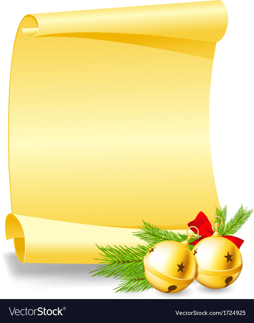 Christmas card - paper scroll wishlist with bells vector | Price: 1 Credit (USD $1)