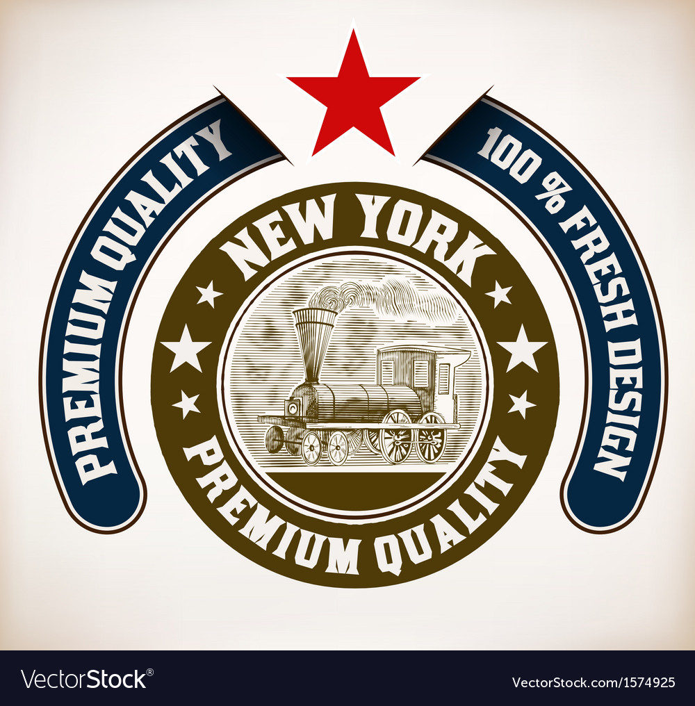 Circular design with stars old train with engravin vector | Price: 1 Credit (USD $1)